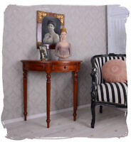 Mahogany console table colonial antique style side hall table with one drawer