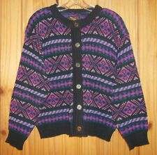 Alps Purples, Pink & Black Button-up Cardigan Made in USA, Womens L