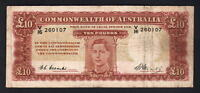Australia R-60. (1949) Ten Pounds - Coombs/Watt. King George VI Portrait..  Fine