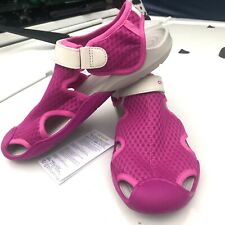 NEW Rare Crocs Women's Swiftwater Mesh Water Shoes Deck Sandals Sz 6 Pink White