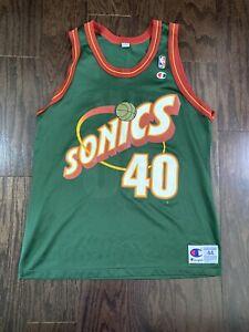 Vintage Shawn Kemp #40 Champion Seattle Super Sonics NBA Basketball Jersey Sz 44
