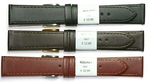 FLAT STITCHED GENUINE LEATHER WATCH STRAP FROM ROCHET FRANCE 12-20MM RRP £12.95