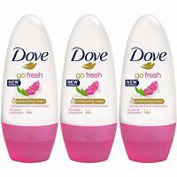 3 x Dove Go Fresh Pomegranate 48h Anti-perspirant Deodorant Roll On Women 50ml
