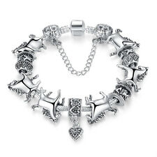 Women Silver Animal Bracelet Glass Beads Bracelets Horse Bangle Fashion TO