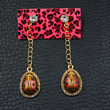 Betsey Johnson Fashion Rhinestone enamel Ladybird Insect Women Gift Earringsy