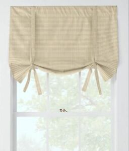 """2 COUNTRY CURTAINS LAUREL CHECK TIE-UP VALANCE 48"""" x 23"""""""