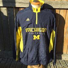 Adidas Mens XL Michigan Wolverines Football 1/4 Zip Pullover Windbreaker
