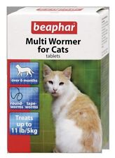 BEAPHAR CAT KITTEN MULTI WORMER ROUND & TAPE WORM TREATMENT PACK 12 TABLETS