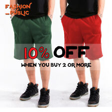 HILL MENS WOMENS UNISEX PLAIN SWEAT SHORTS 3 POCKETS DRAWSTRING GYM ACTIVE