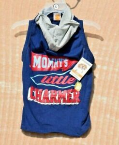 """SimplyDog Blue Gray """"Mommy's Little Charmer"""" Hoodie/Shirt Pet/Dog Large"""