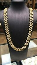 "CZ CURB GOLD PLATED 925 Sterling CUBAN LINK BRACELET CHAIN 15MM HEAVY 20"" 22"""