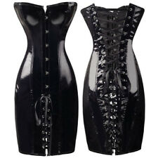 610  Sexy Shapewear Slim strapless Dress Faux Leather Corset Bustier+G-string