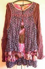 Ladies Multi-texture Knit Long Sleeve Long Purple Burgundy Top, Lior Size M
