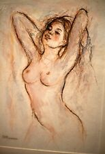 Original Pastel Watercolor Oil Painting Nude Signed Listed Famous Artist 9 x12