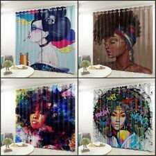 African Woman Living Room Bedroom Curtain 2 Panels Set Grommet Top