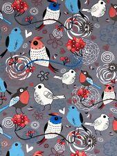 Jersey Stoff Kinderstoff Liebe Vögel grau  Breite 150 cm ab 50cm