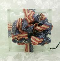 """Lighted Glass Block Decoration Red White Blue Flag Ribbon Patriotic 8"""" x 4"""""""