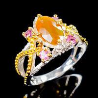 Orange Opal Ring Silver 925 Sterling Beauty Rainbow8x6mm Size 7 /RR17-1646-2