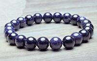 "10mm Blue Sandstone Sand Stone Round Beads Stretchy Bangle Bracelet 7.5"""