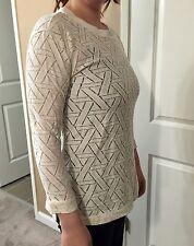 (Designer Closeout) Womens Perforated Crew Neck Sweater Long Sleeve Top Medium