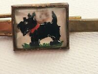 Vintage Black Scotty Dog On Grass Tie Clip Clasp Bar Gold Tone Art Deco
