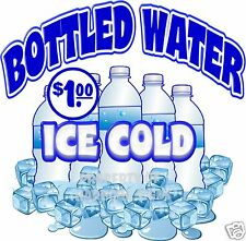 "Ice Cold Bottled Water $1.00 Drinks  Concession Food Truck Decal 14"" Sticker"