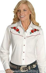 Ladies Ely White Western Cowboy Cowgirl Shirt Embroidered Red Rose Line Dancing