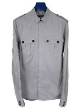 Balmain Black & Gray Striped Military Shirt AW12 sz. 38 Small