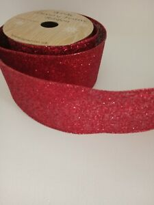 2 metres of wide red glittery christmas ribbon