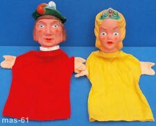 2 mano bambole principe + principessa Vinile Testa mano BAMBOLA Arlecchino teatro BAMBOLA
