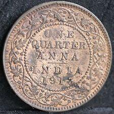 India, George V Bronze One Quarter Anna, 1913. EF. Lots of Lustre
