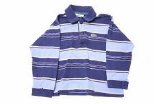 LACOSTE Boys Polo Shirt Long Sleeve Size 2T Small Blue Beige Stripes Cotton