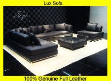 NEW Large BLACK 100% Full Italian Leather Corner Sofa Settee Suite---Top Quality