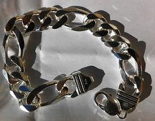 "Mens Bracelet Sterling Silver 925 Fiagro Link 13 MM 8.5"" 51 Grams Lobster Clasp"