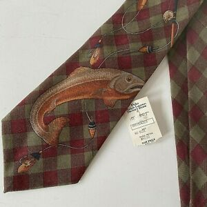 Vintage POLO RALPH LAUREN 100% Wool Plaid Trout Fishing Tie NWT New Rare 90s