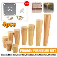 4x 6-70cm Oak Wooden Furniture Leg Feet W/ Iron Plate For Sofa Table Chair Stool