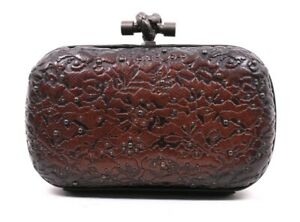 BOTTEGA VENETA Dark Brown Embossed & Studded Calfskin KNOT Clutch Bag