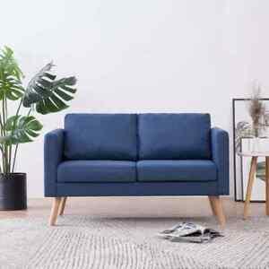 vidaXL Divano a 2 Posti in Tessuto Blu Sofa Poltrona Arredo per Salotto Salone