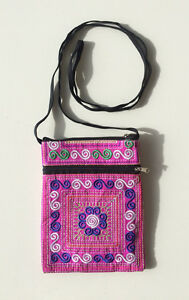 Embroidered Passport or Mobile Phone Bag with zippers and long strap