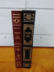 Lot of 2 Franklin Library Books - Wuthering Heights Bronte - Treasure Island