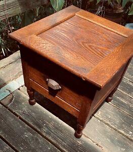 Antique Mission Quarter Cut Oak Commode Chamber Potty Toilet Chair Child Seat