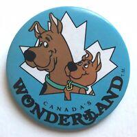 Vtg CANADA'S WONDERLAND Pinback Button 1980s Scooby-Doo Scrappy-Doo Souvenir Pin