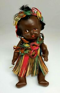 """Vintage Antique 1930's Topsy AFRICAN AMERICAN 9.5"""" Black Composition Baby Doll"""