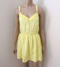 NWT Hollister Womens Ruffle Sundress Size Medium Bright Yellow Summer Dress