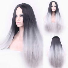 Stylist Straight Synthetic Wig Two Tone Natural Black/Grey Gradient Hair Wigs