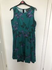 Lady Vintage turqoise butterfly dress size 18