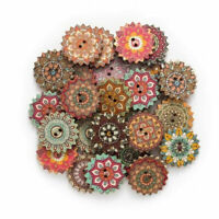 100pcs 2 Holes Mixed Round Shape Wooden Buttons Sewing Scrapbooking DIY Craft