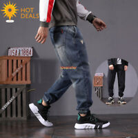 New Men`s Retro Blue Ripped Loose Denim pants Harem Taper Fit Baggy Jogger Jeans