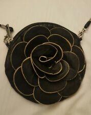 Black Cute Round Rose Flower Handbag Unique Purse Crossbody  WORLDWIDE SHIPPING!