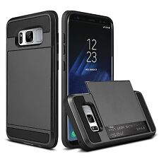 Shockproof Hybrid Armor Card Slot Slide Wallet Case F Samsung GALAXY Note 8 S8